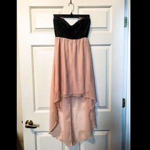High-low strapless dress